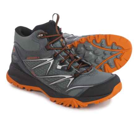 Merrell Capra Bolt Mid Hiking Boots - Waterproof (For Men) in Grey/Orange - Closeouts