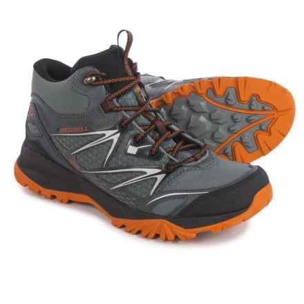 Merrell Capra Bolt Mid Hiking Boots - Waterproof (For Men) in Grey/Orange - Closeouts