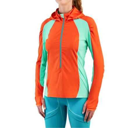 Merrell Capra Hybrid Wind Layer Jacket - Zip Neck (For Women) in Red Pepper/Cockatoo - Closeouts