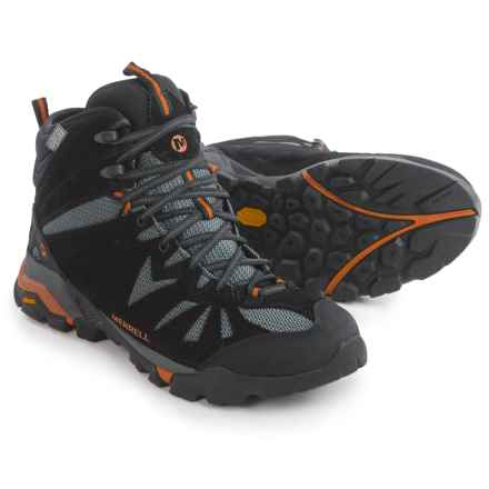 Merrell Capra Mid Hiking Boots - Waterproof, Suede (For Men) in Black/Orange - Closeouts