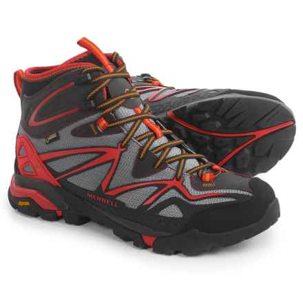 Merrell Capra Mid Sport Gore-Tex® Hiking Boots - Waterproof (For Men) in Light Grey/Red - Closeouts