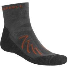 Merrell Chameleon Socks - Wool Blend, Quarter-Crew (For Men) in Charcoal/Black/Orange - 2nds