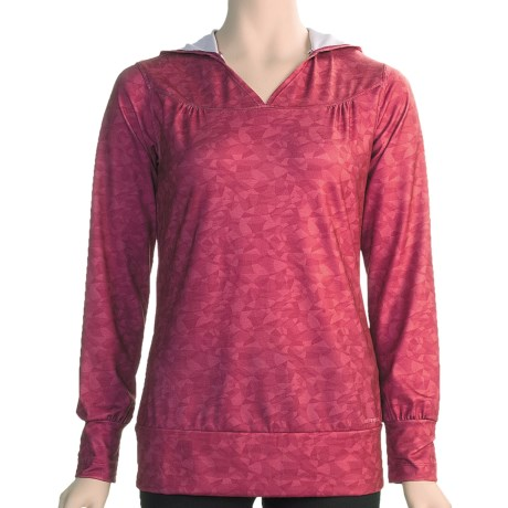 Merrell Cleopatra Hoodie Shirt - UPF 30 (For Women) in Sangria Print