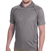 Merrell Connect Polo Shirt - Zip Neck, Short Sleeve (For Men) in Sidewalk Heather - Closeouts