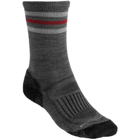 Merrell Courant Stripe Socks - Crew (For Men) in Grey/Black/Red