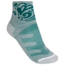 Merrell Crest Running Socks - Wool Blend, Quarter-Crew (For Women) in Emerald Heather - Closeouts