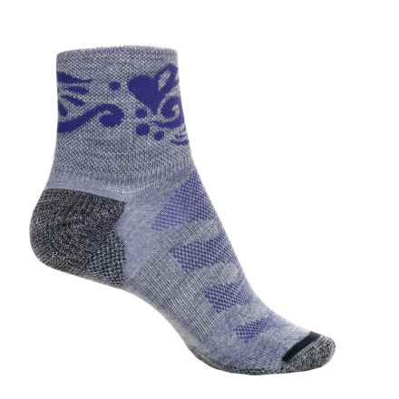 Merrell Crest Running Socks - Wool Blend, Quarter Crew (For Women) in Lavender Heather - Closeouts