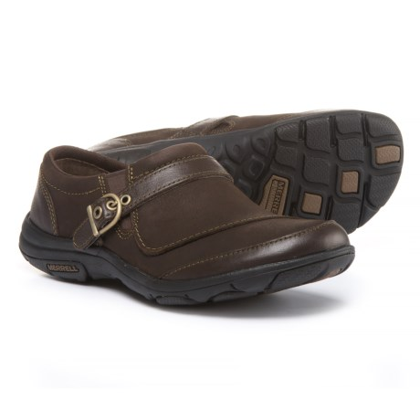 Merrell Dassie Buckle Shoes - Leather, Slip-Ons (For Women) in Espresso