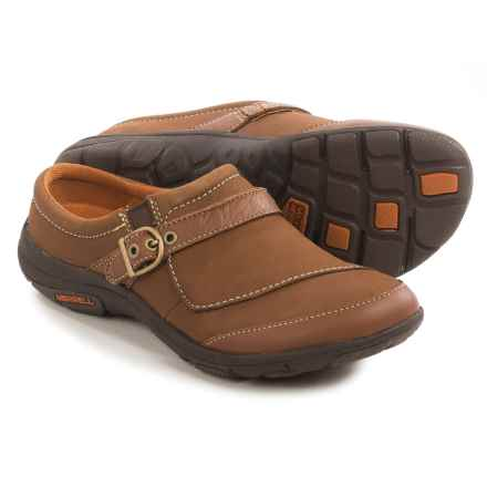 Merrell Dassie Slide Leather Shoes - Slip-Ons (For Women) in Oak - Closeouts