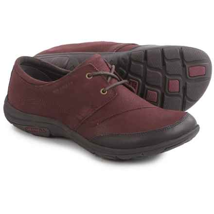 Merrell Dassie Tie Shoes - Leather (For Women) in Deep Red/Espresso - Closeouts
