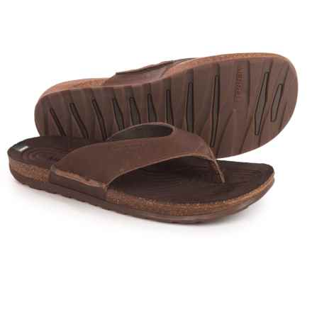 Merrell Downtown Flip-Flops - Leather (For Men) in Dark Earth - Closeouts