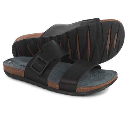 Merrell Downtown Slide Buckle Sandals - Leather (For Men) in Black - Closeouts