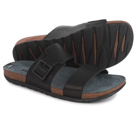 Merrell Downtown Slide Buckle Sandals - Leather (For Men) in Black