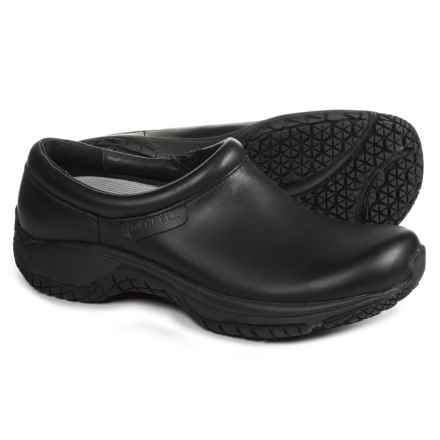 Merrell Encore Moc Pro Lab Shoes - Leather, Slip-Ons (For Women) in Black - Closeouts