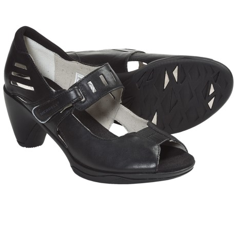 Merrell Evera Mary Jane Pumps - Leather, Peep Toe (For Women) in Black