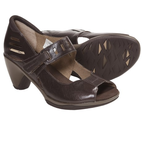 Merrell Evera Mary Jane Pumps - Leather, Peep Toe (For Women) in Bracken