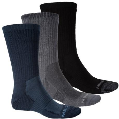 Merrell Hiker Core Socks - 3-Pack, Crew (For Men) in Navy/Grey/Black