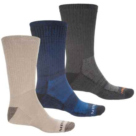 Merrell Hiker Core Socks - 3-Pack, Crew (For Men) in Oatmeal/Black/Navy - Closeouts