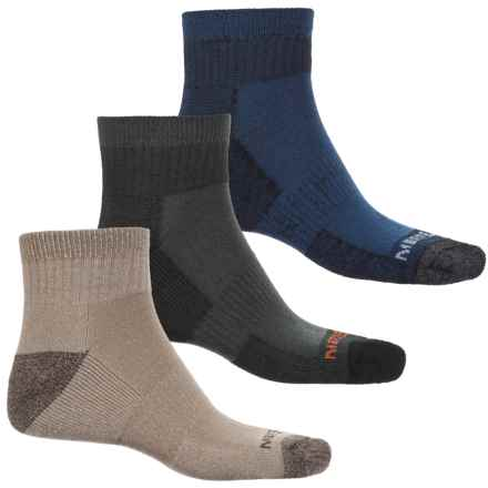 Merrell Hiker Socks - 3-Pack, Quarter Crew (For Men) in Oatmeal/Black/Navy - Closeouts