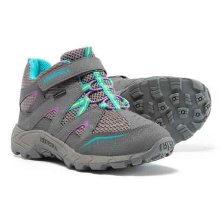 Merrell Hilltop Mid Quick-Close Hiking Boots - Waterproof (For Girls) in Grey/Multi - Closeouts
