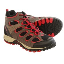 Merrell Hilltop Ventilator Mid Hiking Boots - Waterproof, Leather (For Big Kids) in Brown/Red - Closeouts