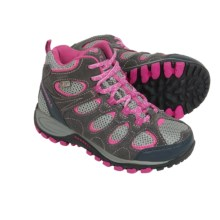 Merrell Hilltop Ventilator Mid Hiking Boots - Waterproof, Leather (For Little and Big Girls) in Grey/Pink - Closeouts