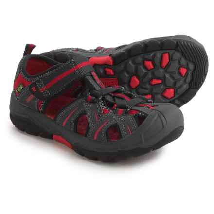 Merrell Hydro Water Sandals - Leather (For Little and Big Boys) in Grey/Red - Closeouts