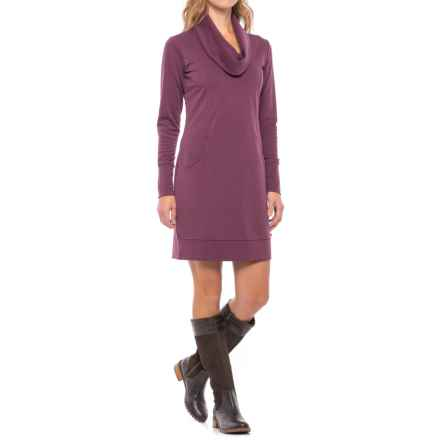 Merrell Indira Comfy Cowl Neck Dress - Long Sleeve (For Women) in Prune Purple - Closeouts