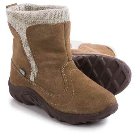 Merrell Jungle Moc Boots - Waterproof, Suede (For Little Girls) in Taupe - Closeouts