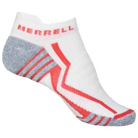 Merrell Lithe Glove Elite Micro Socks - Below the Ankle (For Women) in White/Vibrant Coral - Closeouts