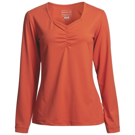 Merrell Mara Sweetheart Neck Shirt - Long Sleeve (For Women) in Persimmon