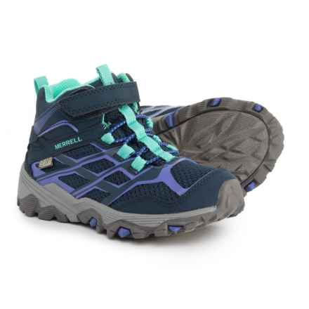 Merrell Moab FST Mid A/C Hiking Boots - Waterproof (For Girls) in Navy - Closeouts