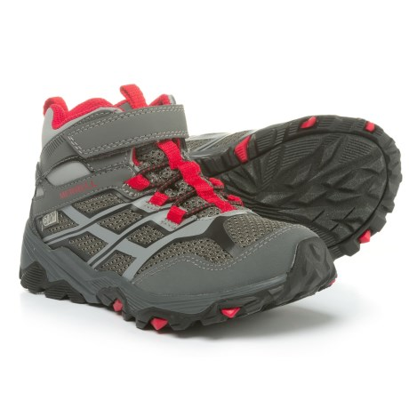 Merrell Moab Mid Hiking Boots - Waterproof (For Boys) in Grey/Red