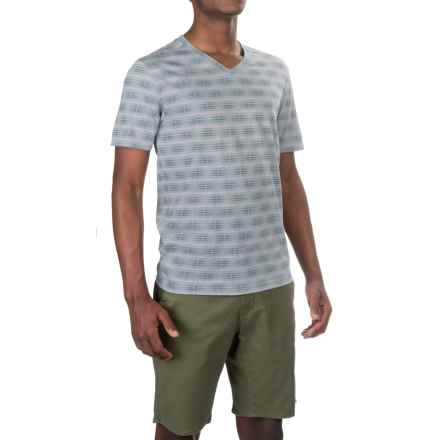 Merrell Pasco Printed V-Neck Shirt - Short Sleeve (For Men) in Iceberg Print - Closeouts