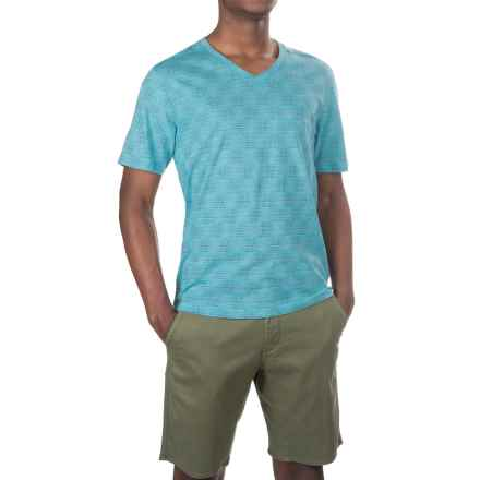 Merrell Pasco Printed V-Neck Shirt - Short Sleeve (For Men) in Shoreline Print - Closeouts