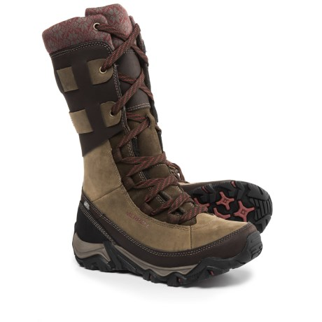 Merrell Polarand Rove Peak Leather Snow Boots - Waterproof, Insulated (For Women) in Black Slate