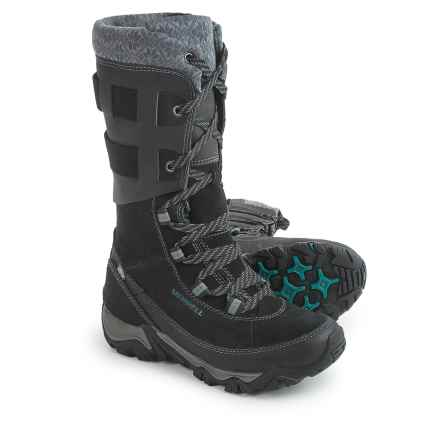 Merrell Polarand Rove Peak Leather Snow Boots - Waterproof, Insulated (For Women) in Black - Closeouts