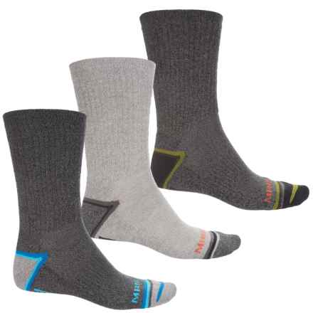 Merrell Repreve® Hiker Socks - 3-Pack, Crew (For Men) in Black Marl - Closeouts