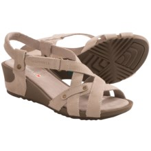 Merrell Revalli Cross Sandals - Suede, Wedge Heel (For Women) in Simple Taupe - Closeouts