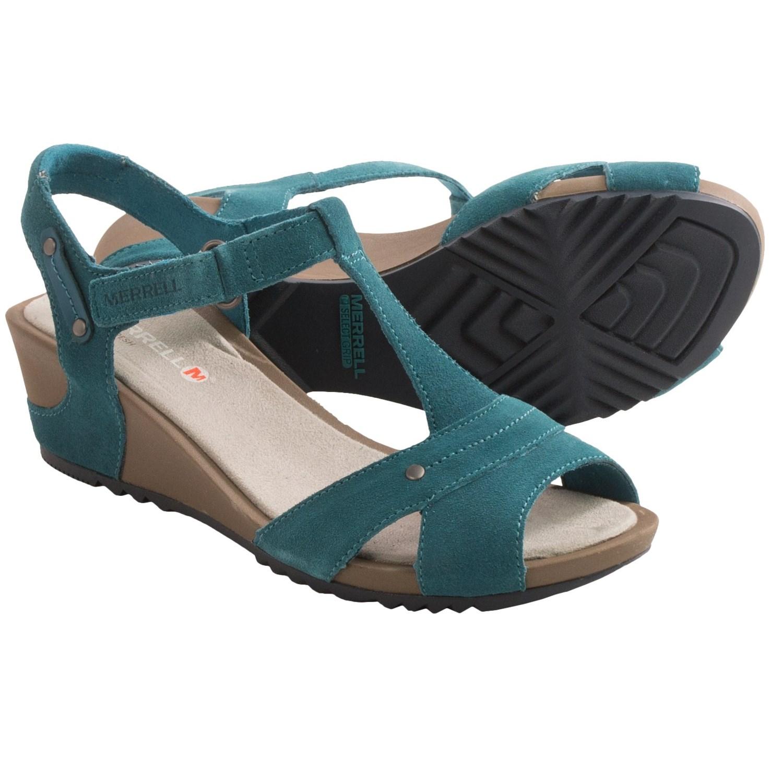 Merrell Revalli Link Sandals - Suede, Wedge Heel (For Women) in