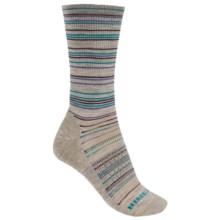 Merrell Scamper Stripe Crew Socks - Merino Wool (For Women) in Stone Stripe - Closeouts