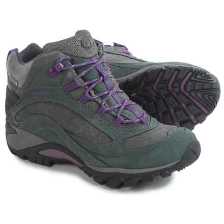 Merrell Siren Mid Hiking Boots - Waterproof, Leather (For Women) in Granite/Purple - Closeouts