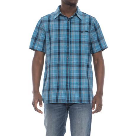 Merrell Sonoma Seersucker Shirt - Short Sleeve (For Men) in Faience Solid