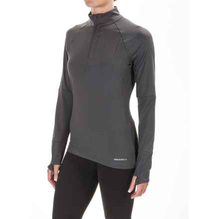 Merrell Soto Zip Neck Tech Shirt - Long Sleeve (For Women) in Asphalt - Closeouts