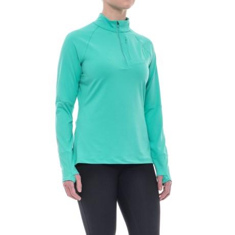 Merrell Soto Zip Neck Tech Shirt - Long Sleeve (For Women) in Atlantis Solid