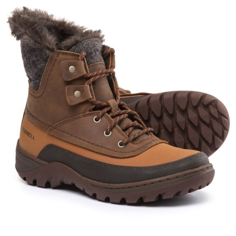 Merrell Sylva Mid Lace-Up Snow Boots - Waterproof, Insulated (For Women) in Merrell Tan