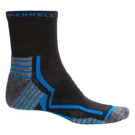 Merrell Trail Gloves Elite Running Socks - 3/4 Crew (For Men) in Black/Snorkel Blue - Closeouts