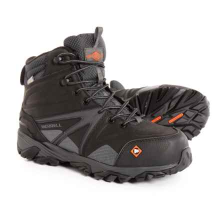 Merrell Trailwork Mid Work Boots - Waterproof, Composite Safety Toe (For Men) in Black - Closeouts