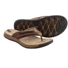 Merrell Traveler Tilt Flip-Flops - Leather (For Men) in Espresso - Closeouts