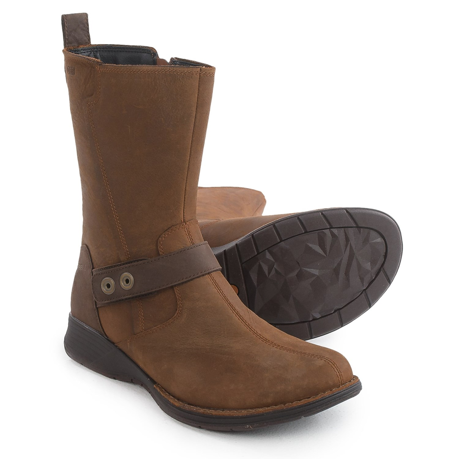 Leather work gloves ireland - Merrell Travvy Mid Rain Boots Waterproof Leather For Women In Merrell Tan